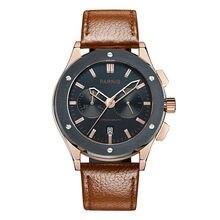Parnis Pilot V Seriers Luminous Mens Leather Watchband Military Sport Chronograph Quartz Watch Wristwatch