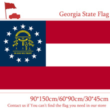 Free shipping Georgia State Flag 60*90cm 3x5ft Polyester Banners with Metal Holes 150*90cm 30*45cm Car