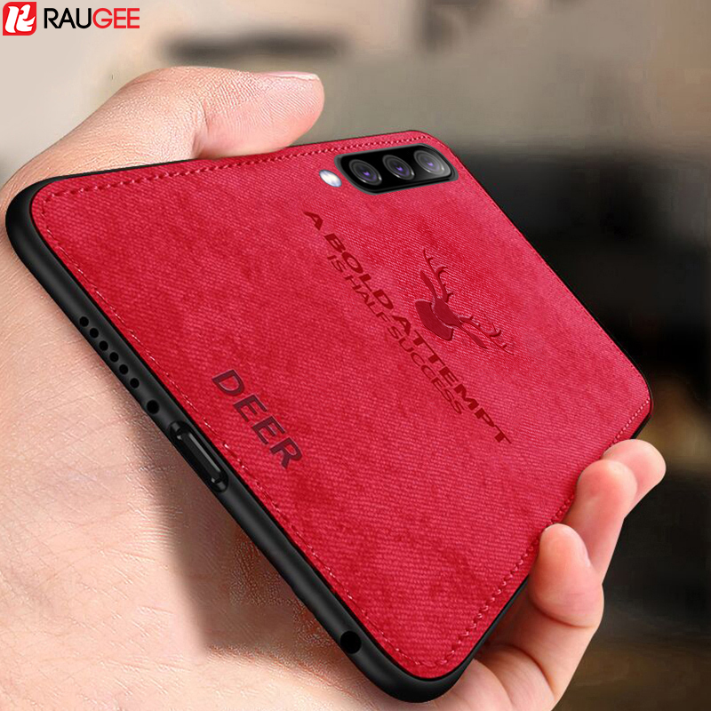 Raugee Case For Samsung Galaxy A70 Case TPU Edge Soft Cloth Fabric Case On For Samsung A50 A 50 A 70 A705F Case Bumper Cover image