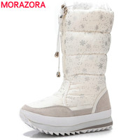 MORAZORA Snow Boots Women Plush Warm Lady Shoes Mid Calf Boots Cow Suede Fashion Winter Boots