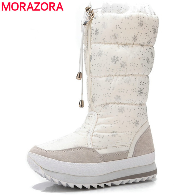 MORAZORA Snow boots women plush warm lady shoes mid calf boots cow suede fashion winter boots female platform shoes SIZE 35-42 double buckle cross straps mid calf boots