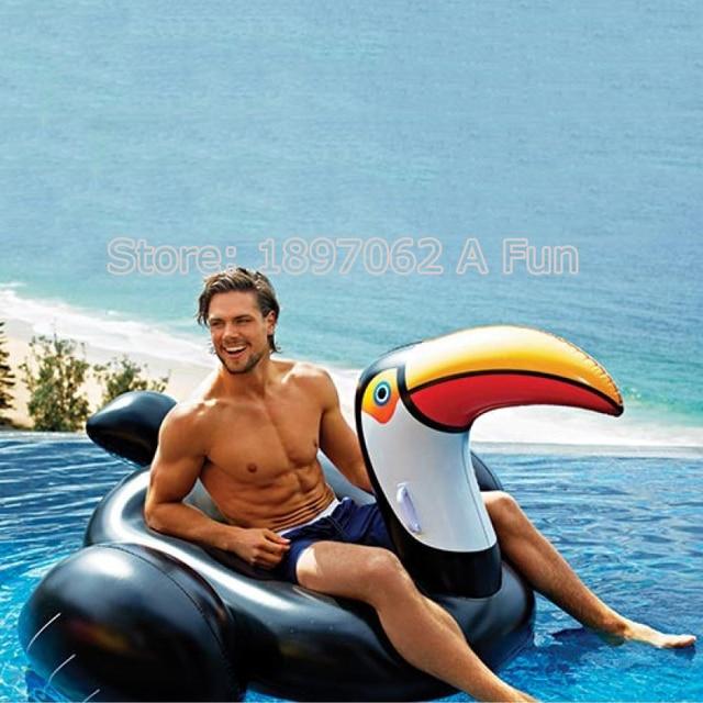 XREOUGA New Giant Toucan Shaped Inflatable Pool Float Raft Ring Swimming  Water Fun Aquatic Sports Bright
