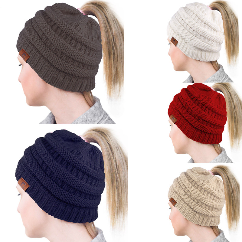2019 Cola de Caballo Beanie sombreros de invierno para las mujeres ... 2595d9518e6