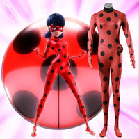 The Miraculous Ladybug Cosplay Costume Halloween Girls Ladybug Marinette Women Lady Bug Spandex Jumpsuit With Bag