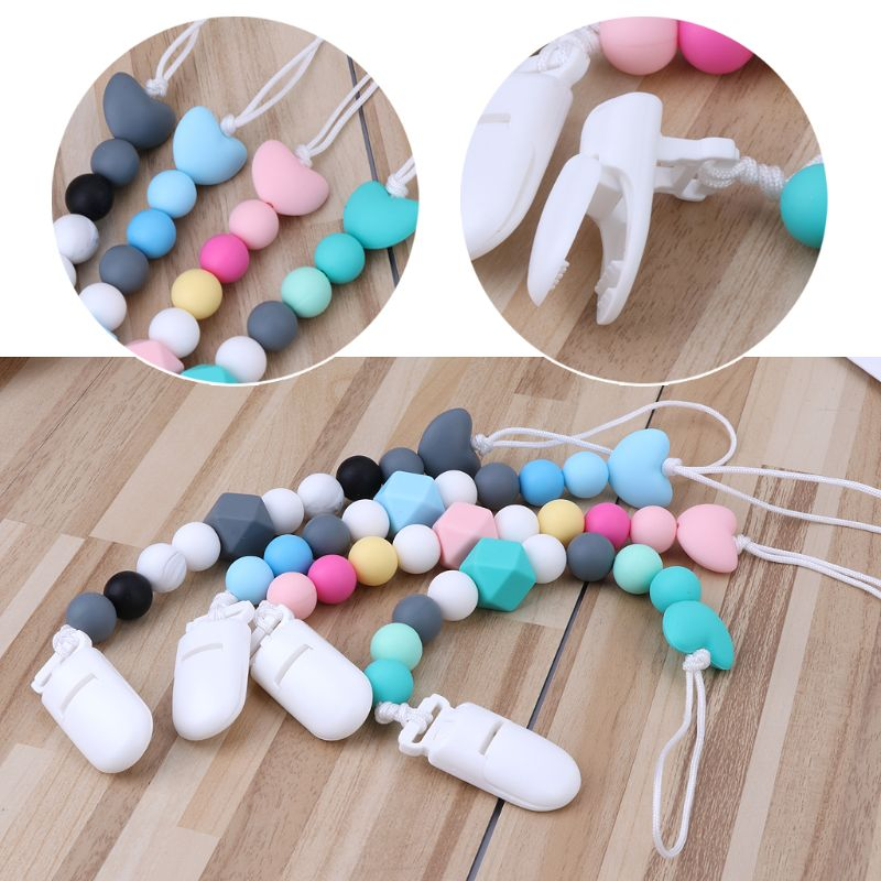 Cute Baby Dummy Clip Holder Pacifier Clips Soother Chains Silicone Bead Teething