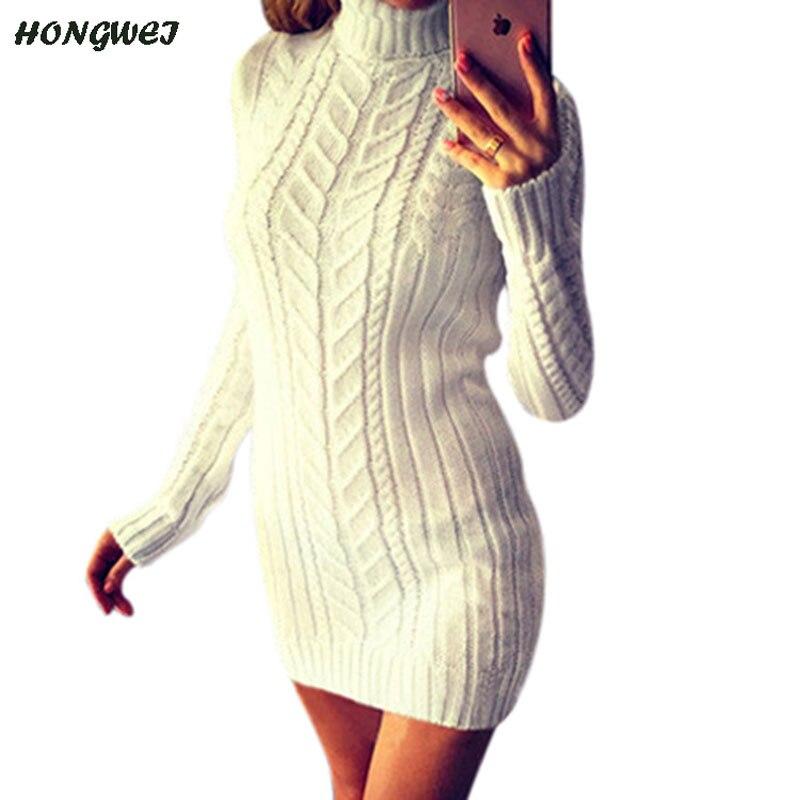 c771febea75 Autumn 2018 Winter Warm Sweater Dress Women Sexy Slim Fit Bodycon Dress  Female Turtleneck Long Sleeve Knitted Dress Plus Size-in Pullovers from  Women s ...