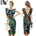 DIV Women Party Bodycon Dresses Sleeveless High Waist Backless Cut Out Vestido Vintage Floral Graphic Print Pencil Casual Dress