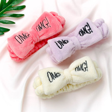 New letter OMG coral fleece hair band ladies soft bow headband girls cute clip headwear accessories wash
