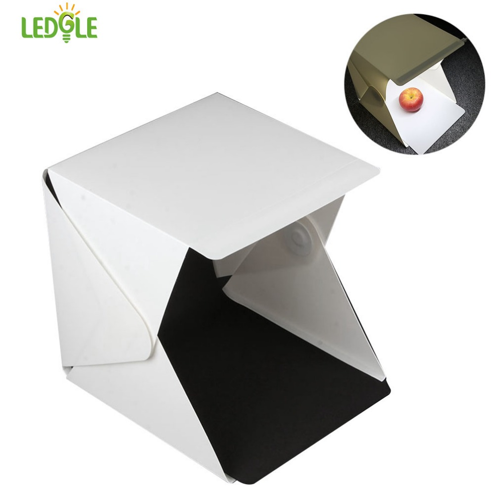 LEDGLE 20*20cm 8 Mini Folding Studio Diffuse Soft Box Lightbox With LED Light White Photography Background Photo Studio Box