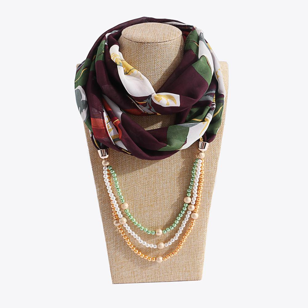 TagerWilen Pendant Scarf Necklace Pearls Color Beads Necklaces For Women Flower Scarves Jewelry Wrap  Female Accessories X-33