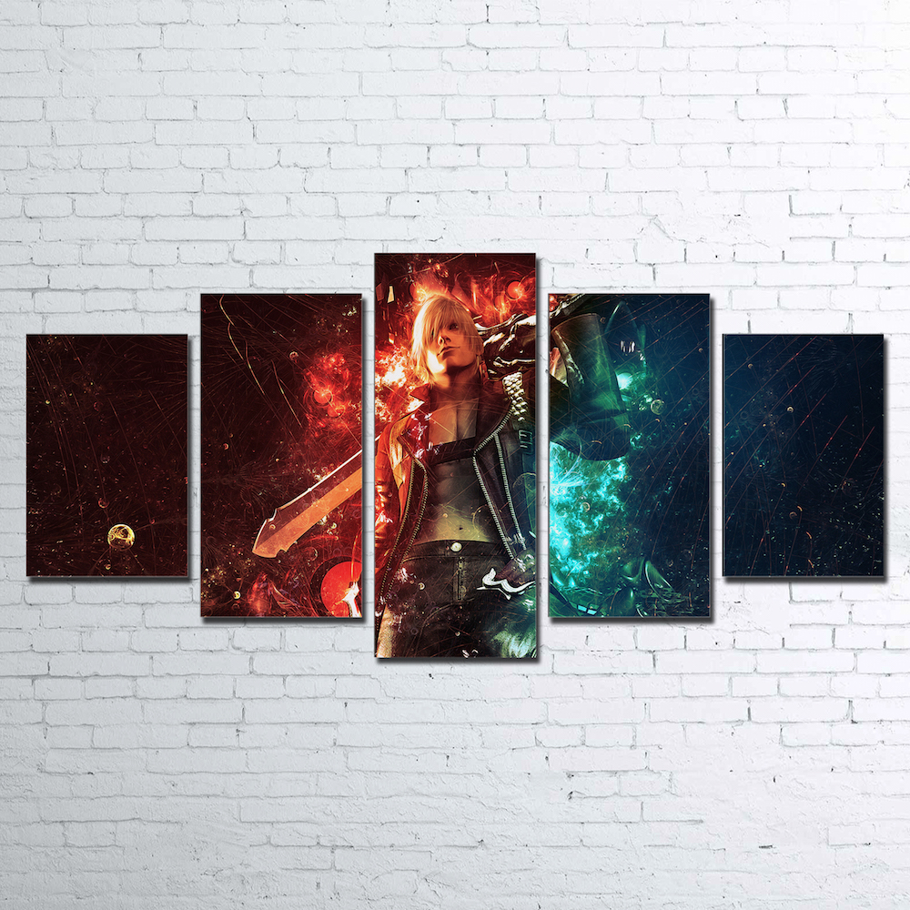 Modern Home Wall Art Decor Canvas Art Pictures Frame Modular Poster 5 Pieces Game Characters Painting