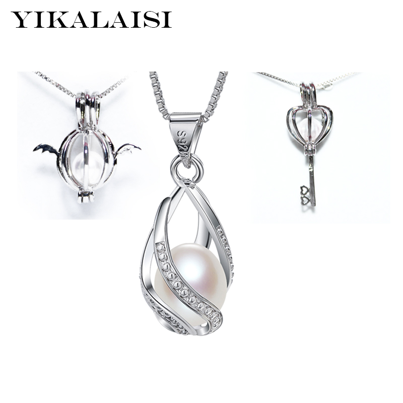 YIKALAISI 2017 fashion cage pendant fittings 925 silver more style Accessories without pearl box chain for oyster pearl