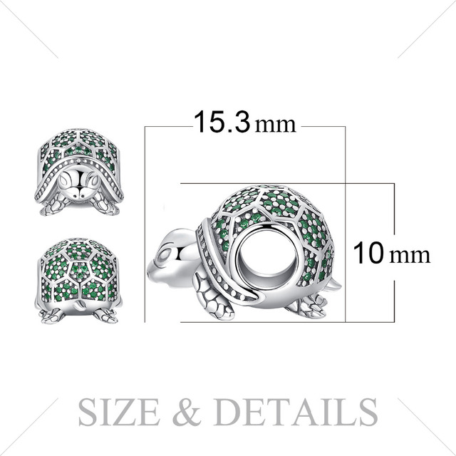 925 Sterling Silver Emerald Turtle Charm