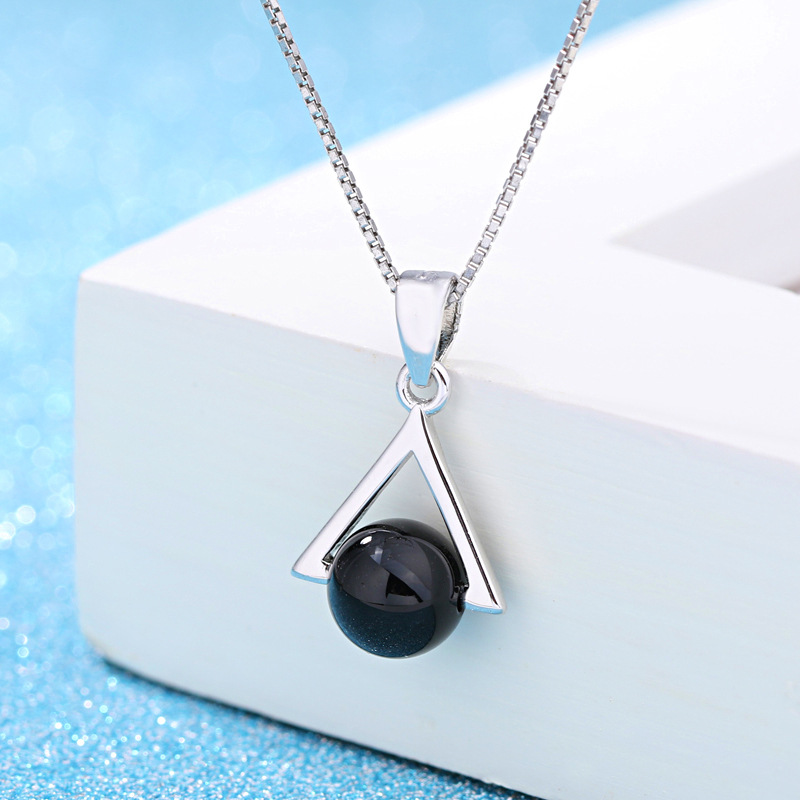 100 925 sterling silver fashion black gem stone triangle ladies pendant necklace jewelry short box chains no fade Anti allergy in Pendant Necklaces from Jewelry Accessories