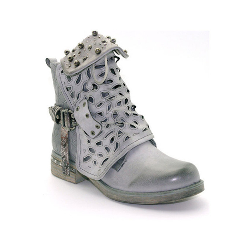Women Rhinestone Winter Boots Zipper Rivet Buckle Lace up Ankle Western  Boots Cowboy Round Toe Women Shoes MAZIAO-in Ankle Boots from Shoes on ... 4095d68f0097