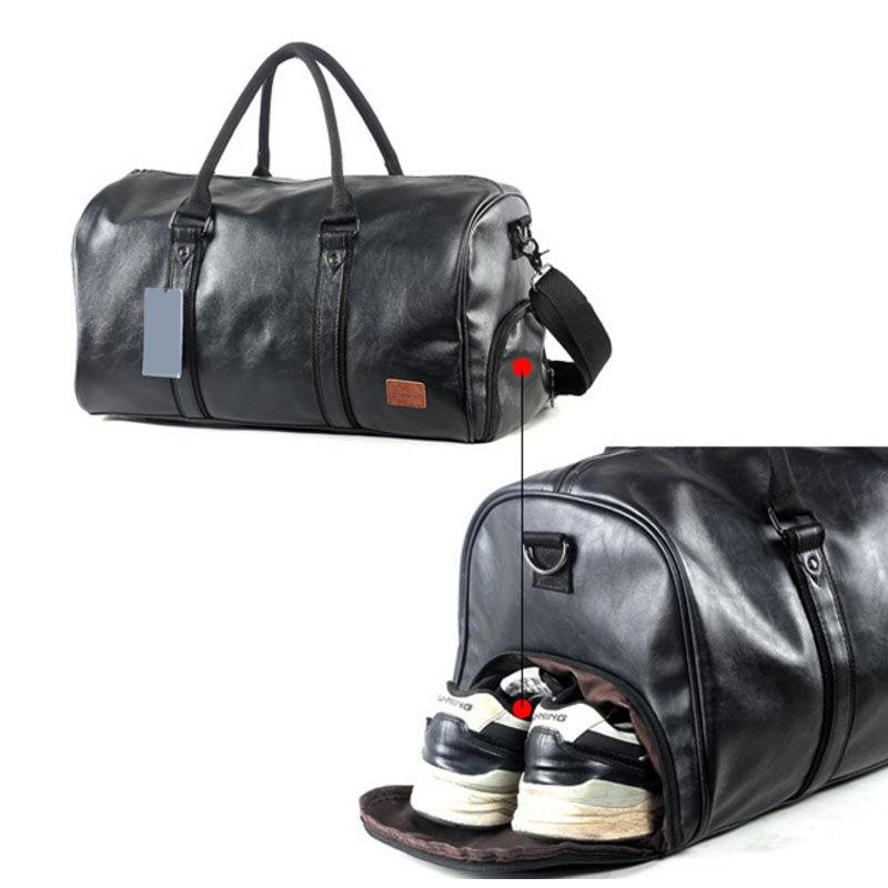 Outdoor Sport PU Gym Fitness Bag Training Shoulder Bags Shoes Storage Pocket Leather Travel Luggage Multifunction Handbag X312WA