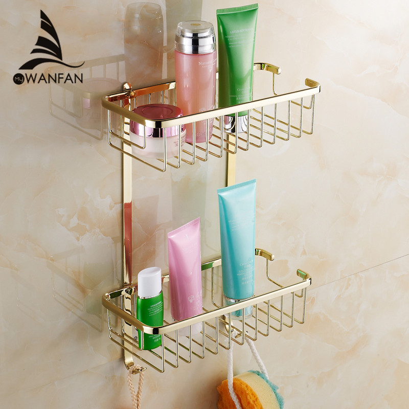Bathroom Shelves 2 Tier Racks Gold Brass Towel Hook Washing Shower ...