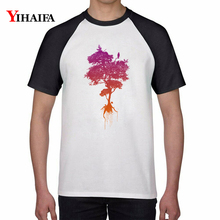 T Shirts Colorful Men Women Gradient Tree 3D Print Graphic Tees Creative Summer Casual Tee Tops Cotton Unisex Top