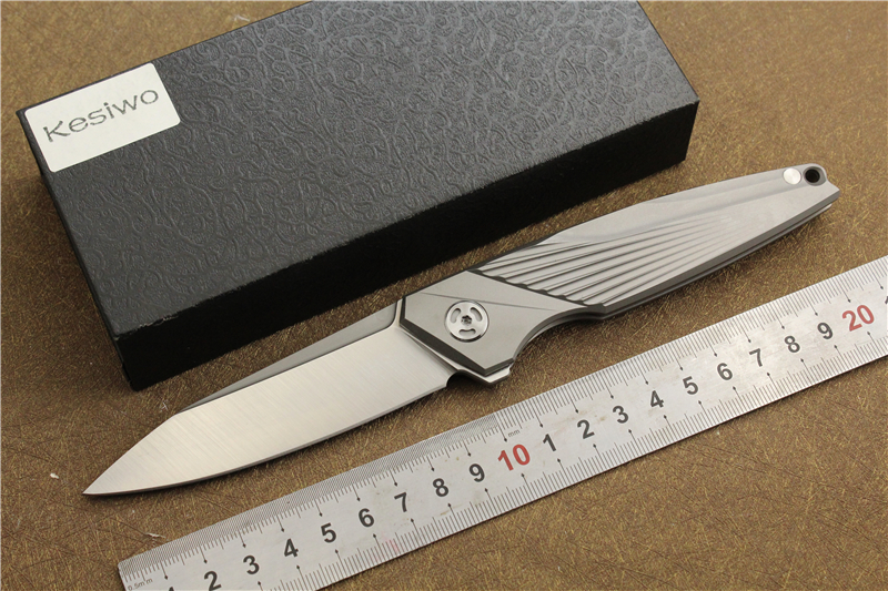 Kesiwo K99 Pocket Folding Knife Titanium Alloy Handle M390 Blade Ball Bearing Flipper Knives Utility EDC Camping Hunting Knife vellance a2 folding blade pocket knives m390 vg10 blade titanium handle ball bearing knife tactical camping survival knife tools