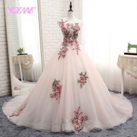 YQLNNE ball gown quinceanera dresses flowers sweet 16 dress debutante vestidos de 15 with free petticoat