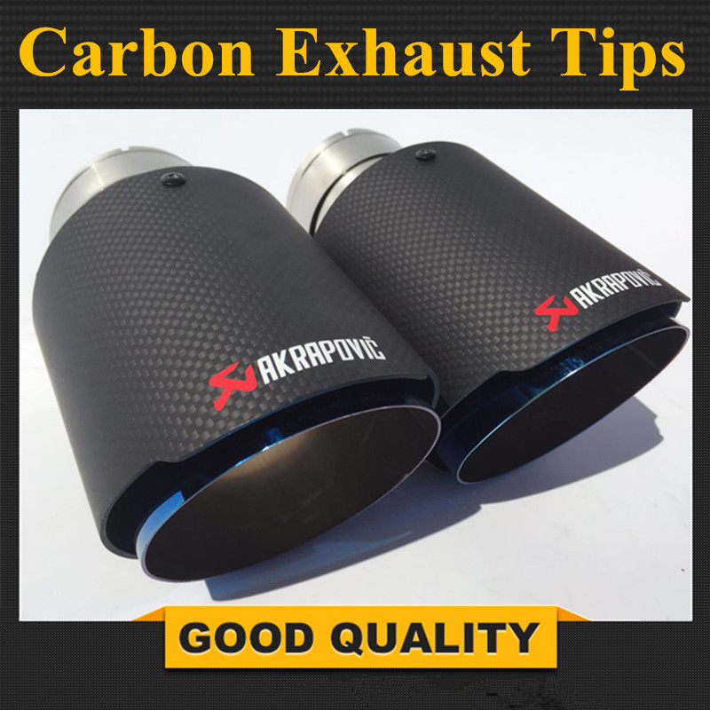 2PCS 63mm Inlet 89mm Outlet Blue Stainless Steel Car Exhaust Tip Akrapovic Carbon Fiber Exhaust Muffler