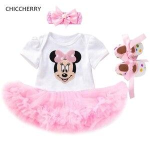 Одежда для маленьких девочек Fantasia Minnie, летнее кружевное детское платье для дня рождения, повязка на голову, детская обувь, новорожденные ком...