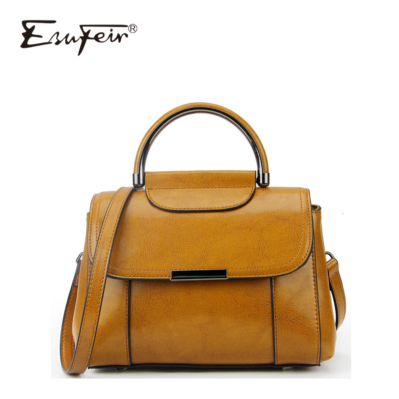 ESUFEIR European And American Fashion Brand Leather Handbags Oil Wax Leather Handbag Shoulder Bag Casual Messenger Bag hansomfy womens handbags solid patent leather shoulder bag european and american style versatile female vintage bucket brand bag