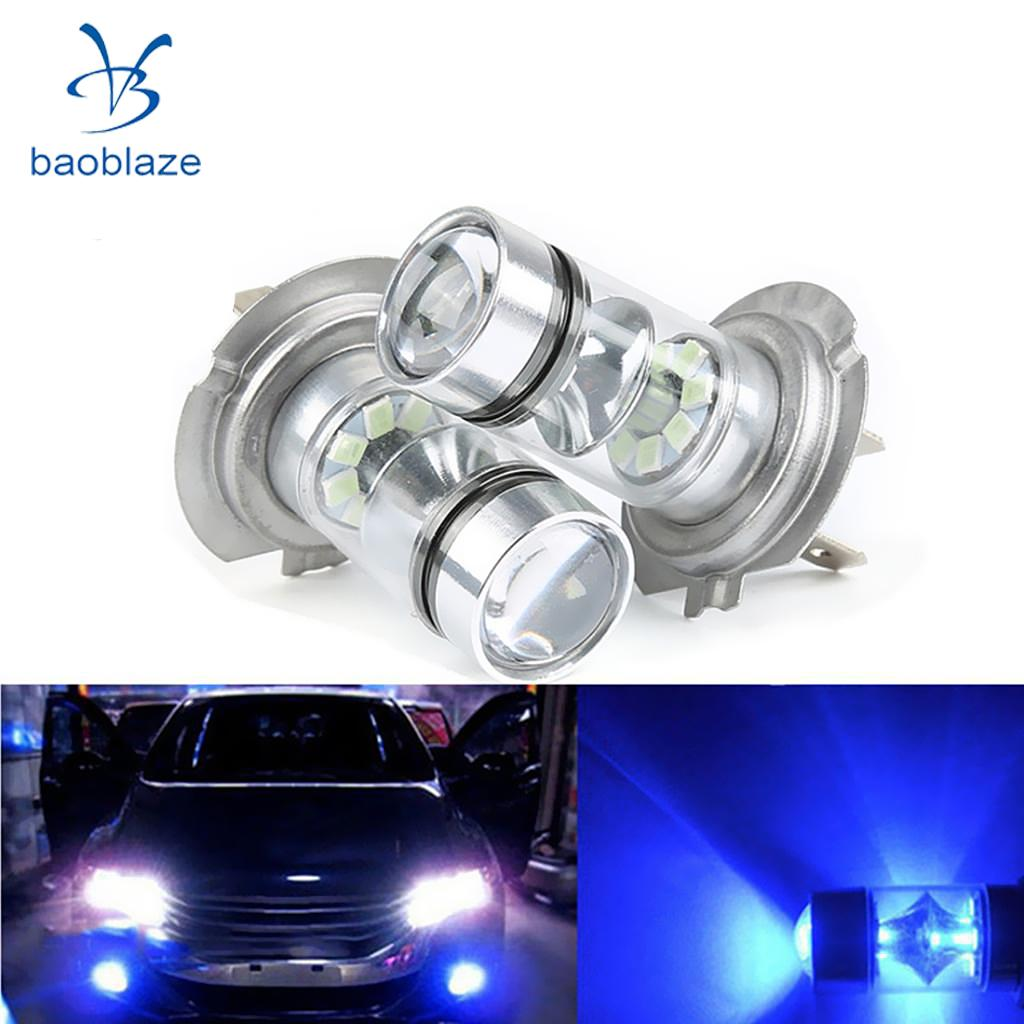 2PCS H7 10000K 100W LED Car Auto Fog DRL Driving Car Head Light Lamp Bulbs Blue