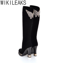 Wikileaks New Women Winter Plus Size Knee High Shoes Woman Black 10CM High Heel Sexy Rhinestone Bow PU Handmade Knight Boots