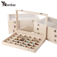 35*24.5*5cm Multifunctional 1pc Bead velvet Jewelry Display Case Storage Organizer Tray Box With Glass Lid For Necklace/Ring