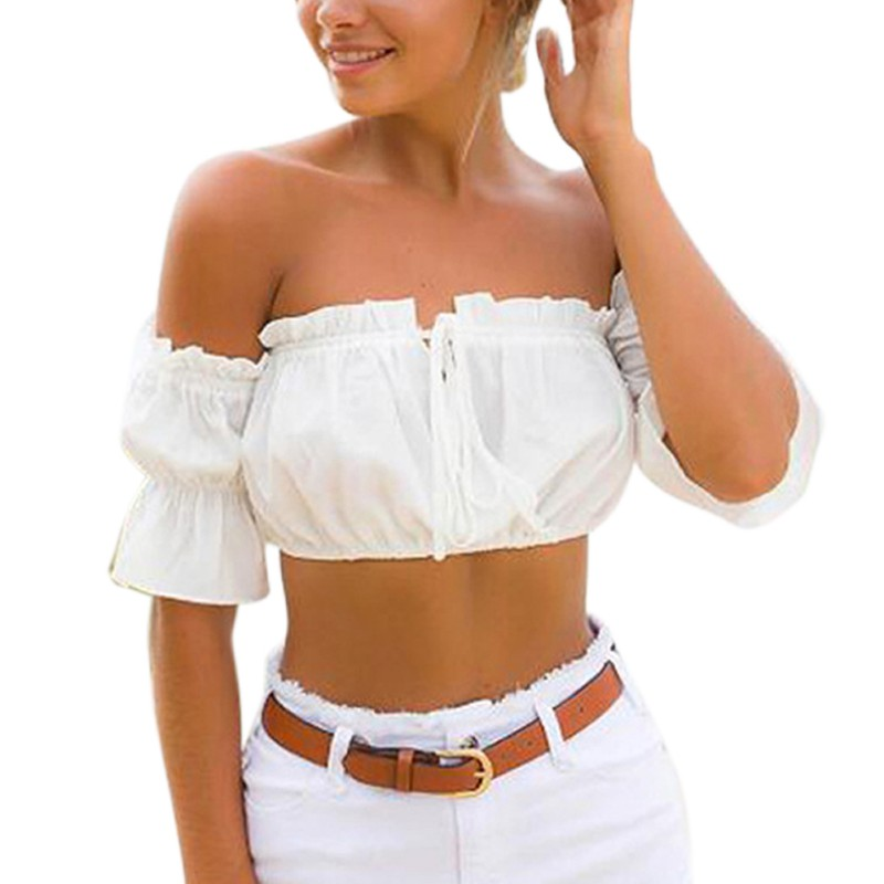 Sexy Off Shoulder Tops Black Red White T shirt Women Girls Crop Tops Ribbed T shirt