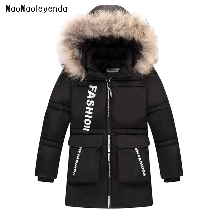 New 2018 Children Winter Jacket For Boys Fashion Fur Hooded Thick Cotton-Padded Boy Long Coat Solid Parka Kid Clothes Outwears real fox fur warm hooded padded jacket women solid color casual manteau femme hiver medium long parka slim coat cotton tt3461