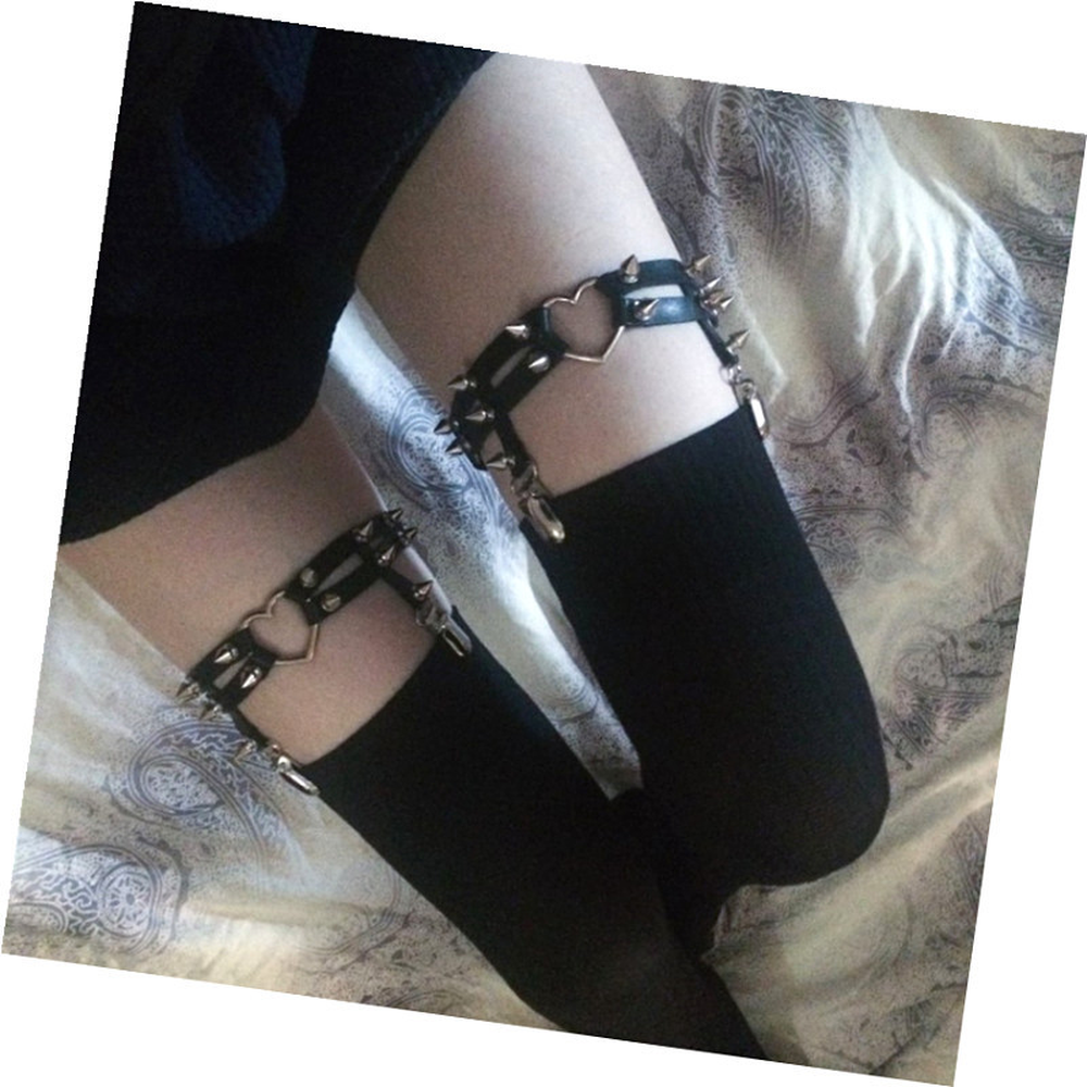 Rock Sexy Leather Love Garter Belt Elastic Leg Girl Women Harness Goth Accessories Black Gothic Rivet Punk Anklet Thigh Garter in Anklets from Jewelry Accessories