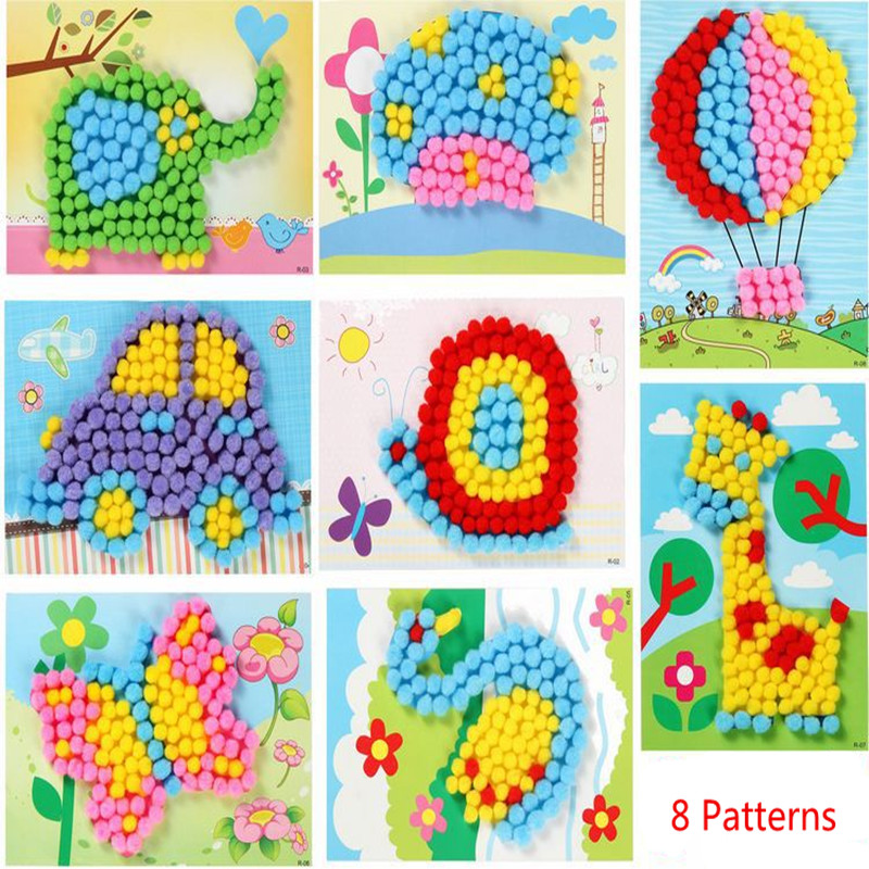 1 Pcs Plush Ball Painting Stickers Baby Kids Creative DIY Children Educational Handmade Material Cartoon Puzzles Crafts Toy