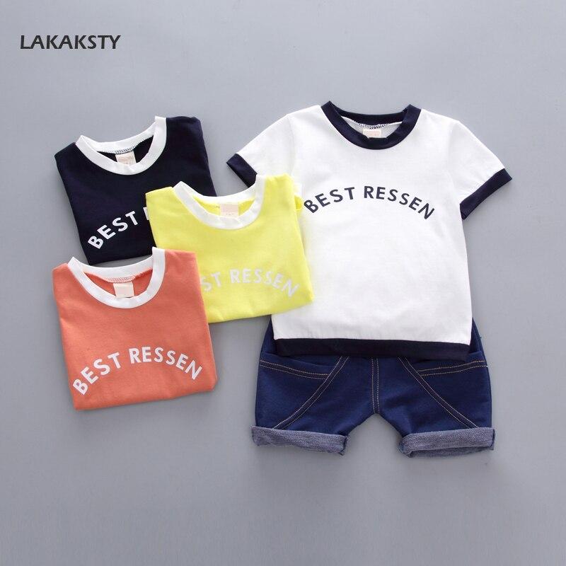 От 1 до 4 лет Детская Одежда для мальчиков комплекты 2 шт./компл. 2018 Новая летняя одежда для детей одежда для малышей Одежда для мальчиков Цвет ...