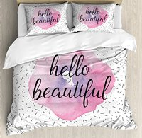 Hello Duvet Cover Set Inspiring Quote Watercolor Flower Pattern And Celebration Background Decorative 4 Piece Bedding
