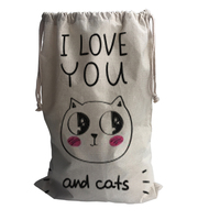 Cute Cat Linen Storage Bags Drawstring Backpack Baby Kids Toys Bags For Shoes School Travel Laundry