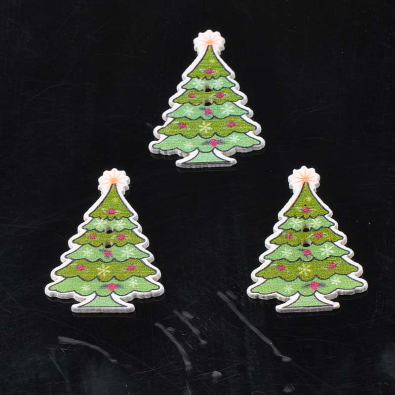 Wooden Cristmas Tree Buttons for Scrapbooking Craft Sewing Supplies 25x35mm 50pcs MT1569