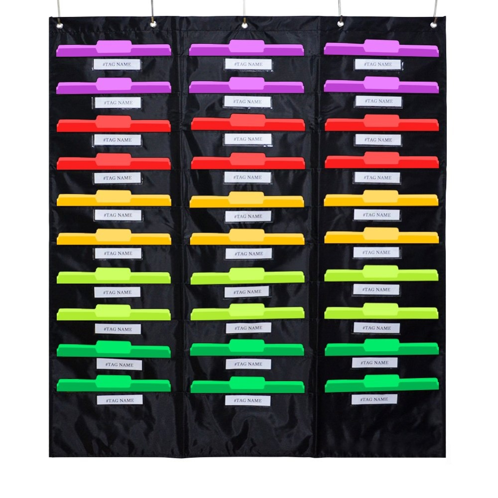 Godery School Pocket Chart, 30 Signatory Pocket, Heavy Duty Hanging File Folders Pocket Chart Cascading Organizer & 5 Hangers