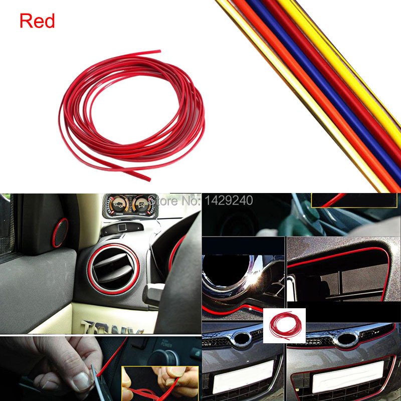1pc free shipping blue orange red silver yellow gold 3m diy 4mm fashion car decoration moulding. Black Bedroom Furniture Sets. Home Design Ideas