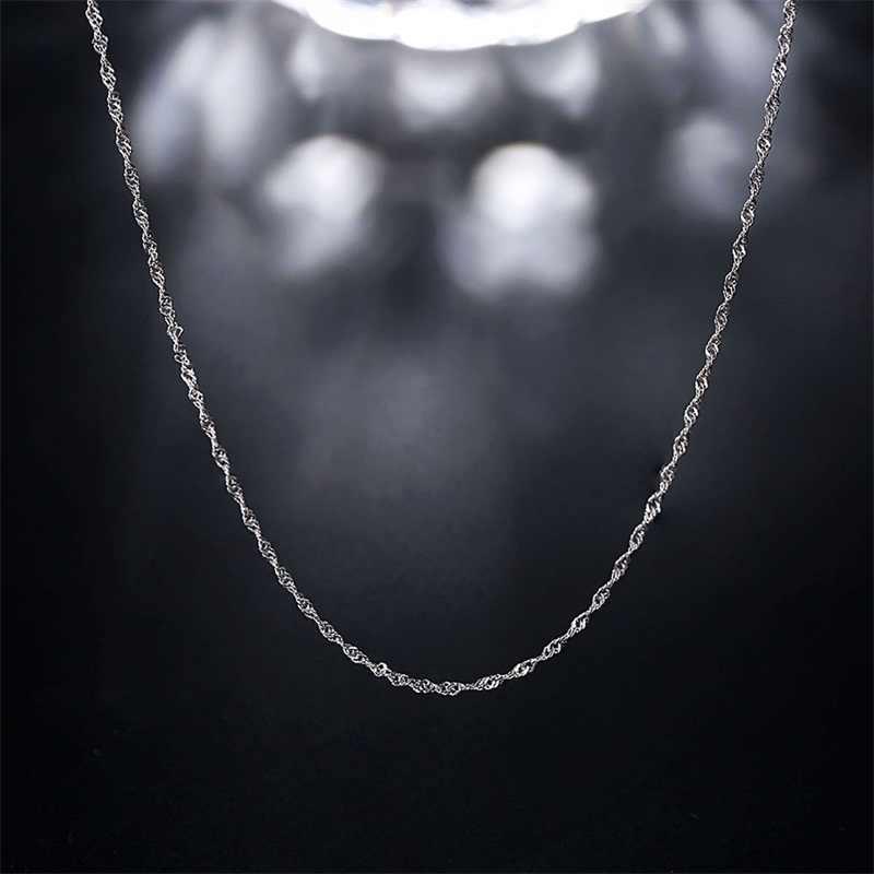 V. Я Серебро 925 длинная Серебристая цепочка Настоящее серебро 925 проба волнистая цепь Цепочки и ожерелья Womens 45 см тонкие цепочки fit Подвески