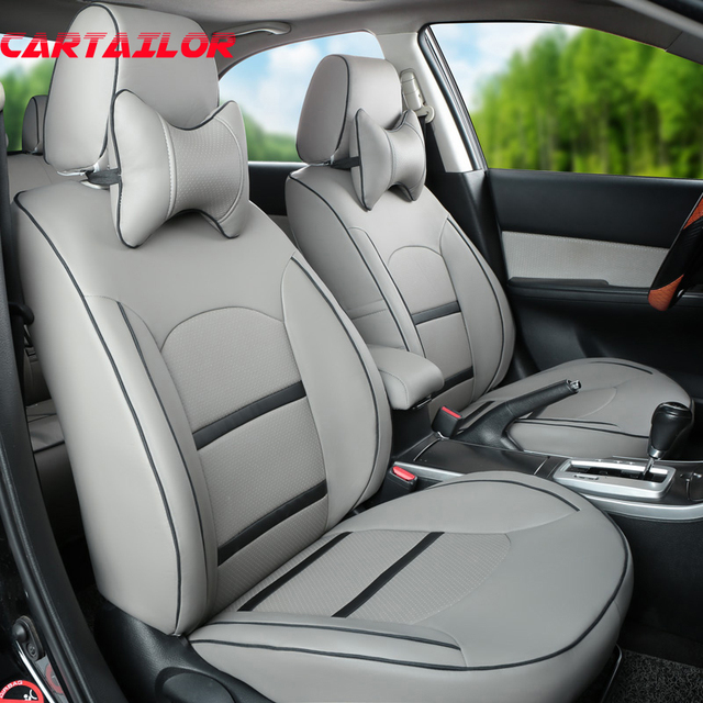 CARTAILOR Grey Cover Seats Fit For Jeep Grand Cherokee Car Seat PU Leather Covers