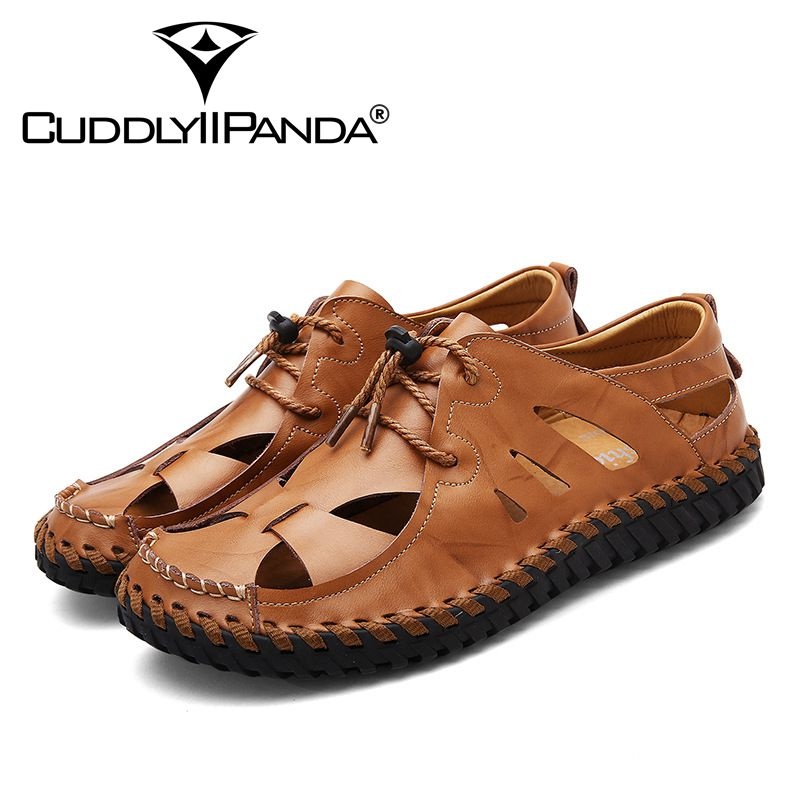 CuddlyIIPanda 2018 Men New Arrival Fashion Summer Sandals Male Genuine Leather Top Quality Breathable Beach Shoes Drop Shipping