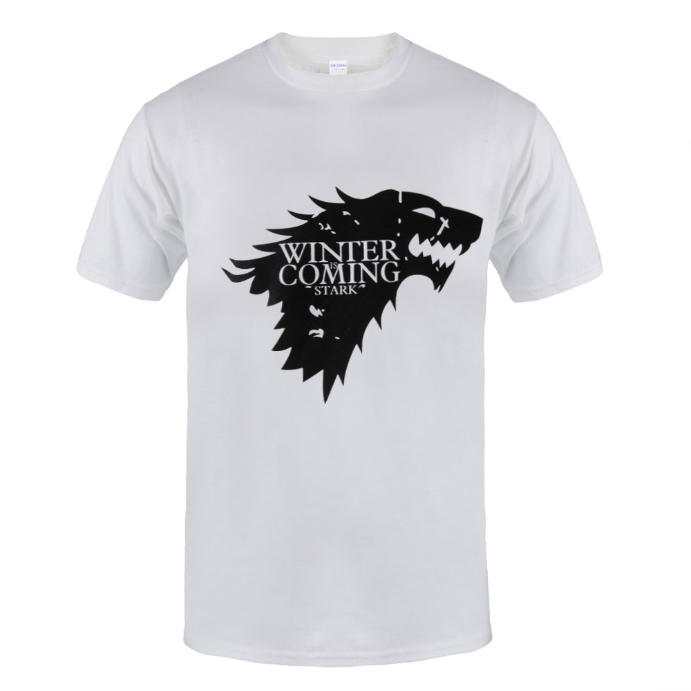 2017 top quality cotton Game of Thrones Men T-shirt Short Sleeve casual O-Neck Tops Tees WINTER IS COMING MEN T shirt Tops