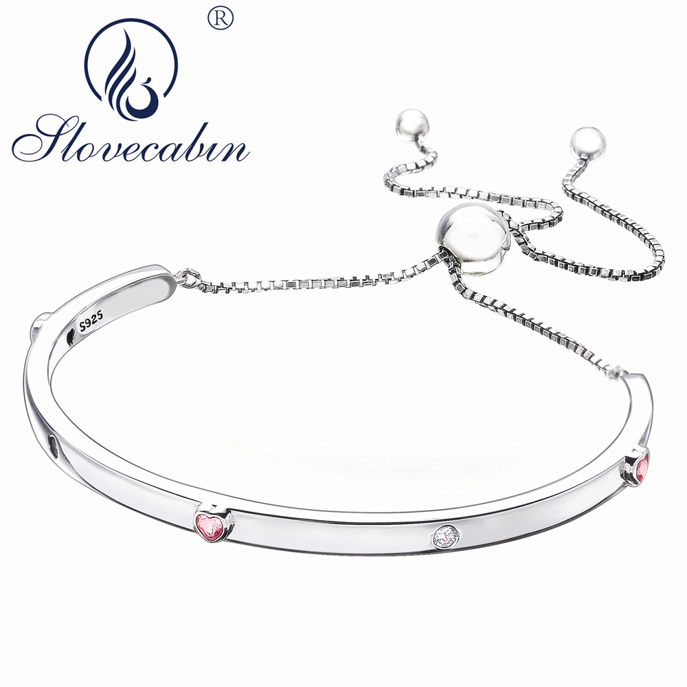 Slovecabin Original 925 Sterling Silver 2018 New Pink Love Heart Zircon Adjustable Open Bangle Valentines Day Gift BraceletSlovecabin Original 925 Sterling Silver 2018 New Pink Love Heart Zircon Adjustable Open Bangle Valentines Day Gift Bracelet