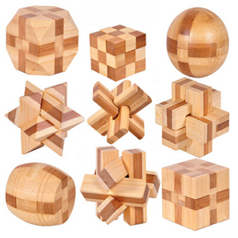 2020 New Design IQ Brain Teaser Kong Ming Lock 3D Wooden Interlocking Burr Puzzles Game Toy Bamboo Small Size For Adults Kids