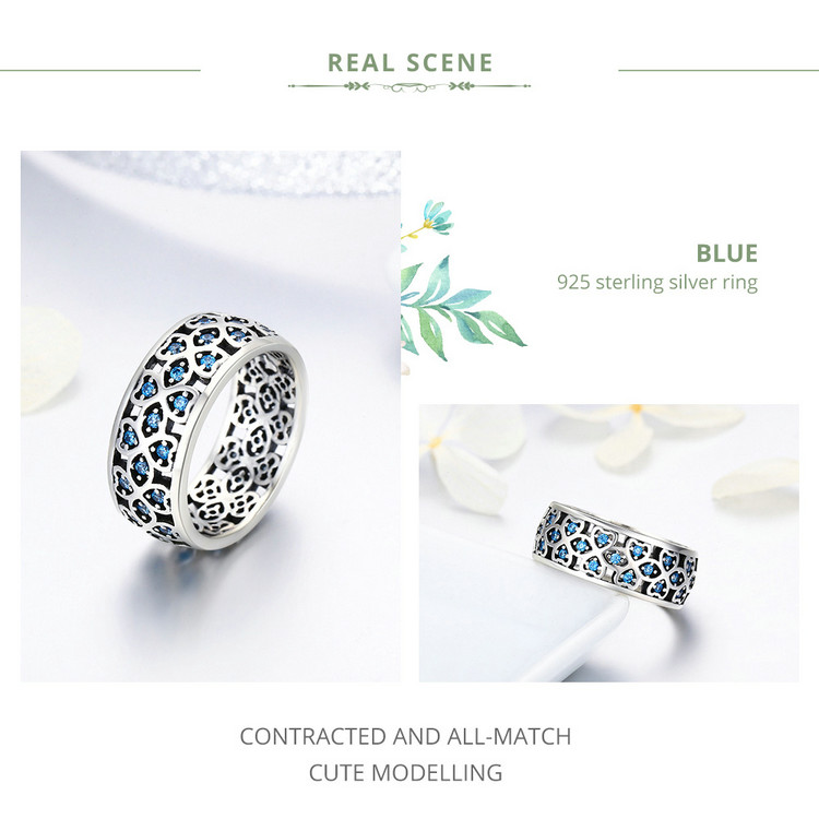 BAMOER 100% 925 Sterling Silver Petals of Love Sweet Clover Blue CZ Finger Rings for Women Engagement Jewelry S925 Gift SCR064 HTB1BQqIubSYBuNjSspfq6AZCpXay rings for women