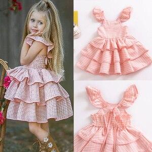 Нарядное платье для новорожденных и маленьких девочек многослойное платье-пачка с оборками платье без рукавов в клетку с открытой спиной д...