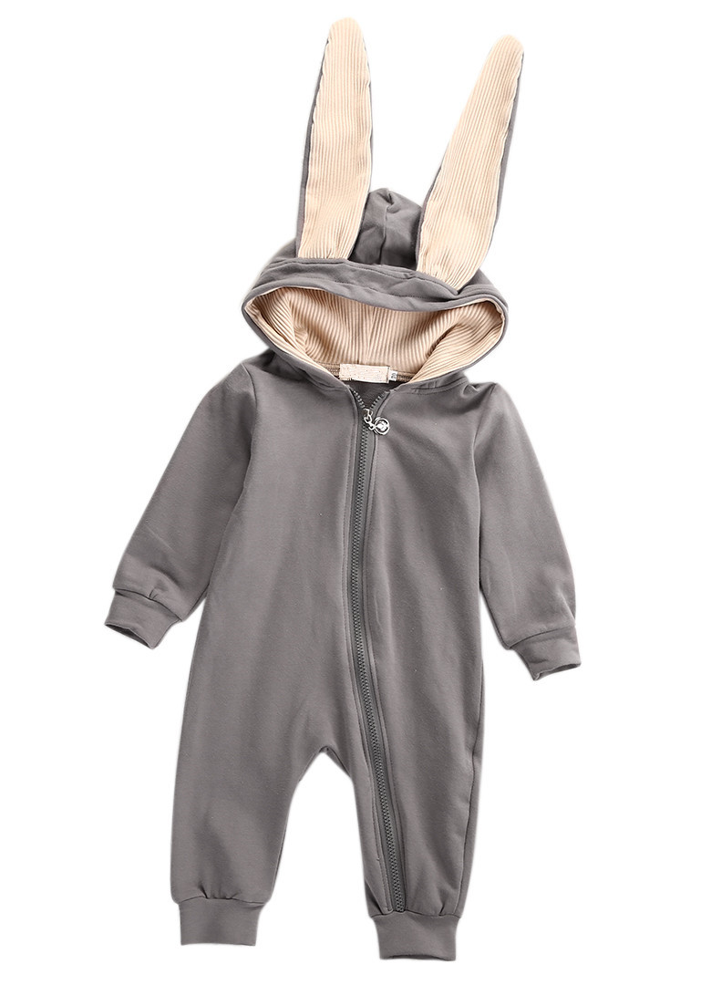 Infant Baby Girls Boys Solid Fleece Ears Hoodie Romper Clothes Zipper Jumpsuit