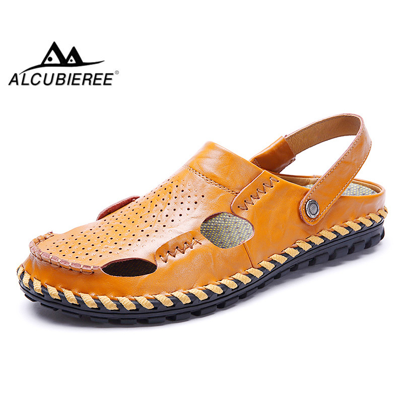 ALCUBIEREE Brand Summer Beach Shoes Mens Leather Sandals High Quality Flip Flops Outdoor Slippers Casual Breathable Sandal Men